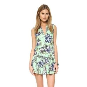 alice+olivia Mint & Blue Floral Drop Waist Dress 4